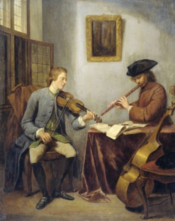 A violinist and a flutist making music. 1755 | Julius Henricus Quinkhard | oil painting