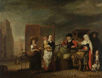 Vegetable Market. 1655 - 1665   Nicolaes Maes   oil painting