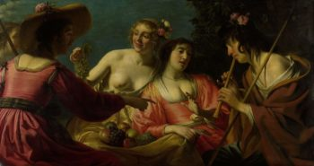 Flute playing shepherd and four nymphs. 1632   Gerard van Honthorst   oil painting