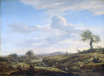 Hilly landscape with high road. 1660 - 1672 | Adriaen van de Velde | oil painting