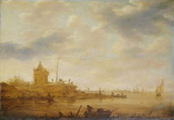 River view with guard. 1644   Jan van Goyen   oil painting