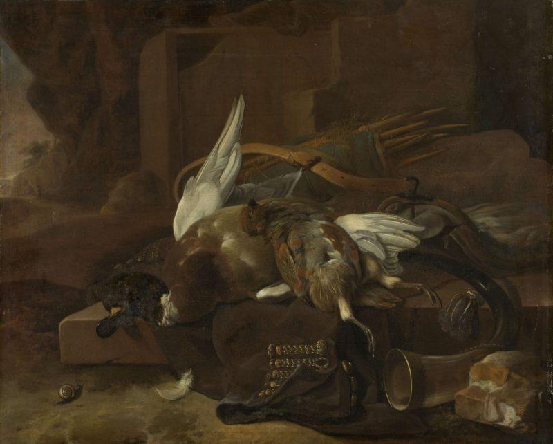 Hunting trophies. 1660 - 1695 | Melchior d' Hondecoeter | oil painting