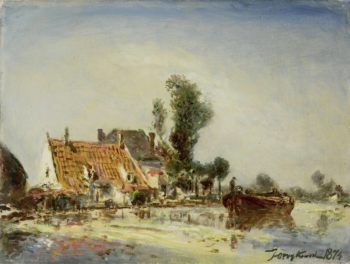Houses on a canal in Crooswijk. 1874 | Johan Barthold Jongkind | oil painting