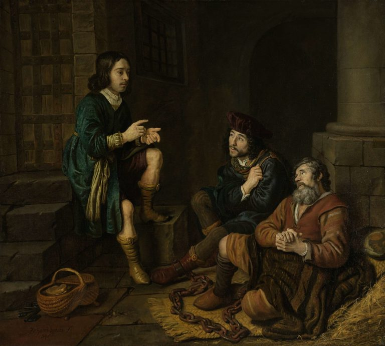Joseph explains the baker and butler their dreams. 1648 | Jan Victors | oil painting