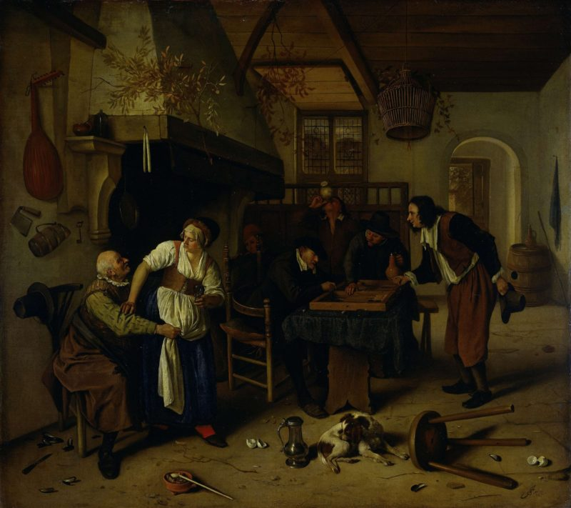 Tavern Interior with an old man who amuses himself with the landlady