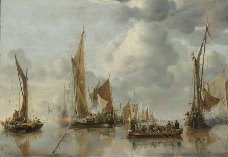 The Home Fleet Saluting the State Barge. 1650 | Jan van de Cappelle | oil painting