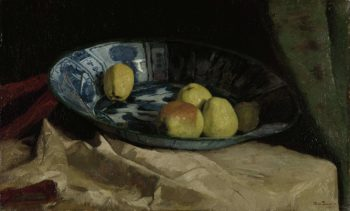 Still life with apples on a Delft blue scale. 1880 - 1890 | Willem de Zwart | oil painting