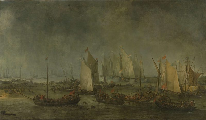 The battle on the Slaak between the Dutch and Spanish fleets in the night of 12 on September 13