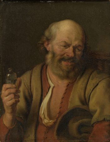 A man with a drink bottle. 1660 - 1680 | Ary de Vois | oil painting