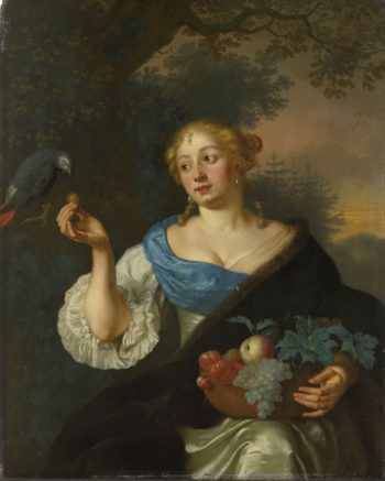 A young woman with a parrot. 1660 - 1680 | Ary de Vois | oil painting