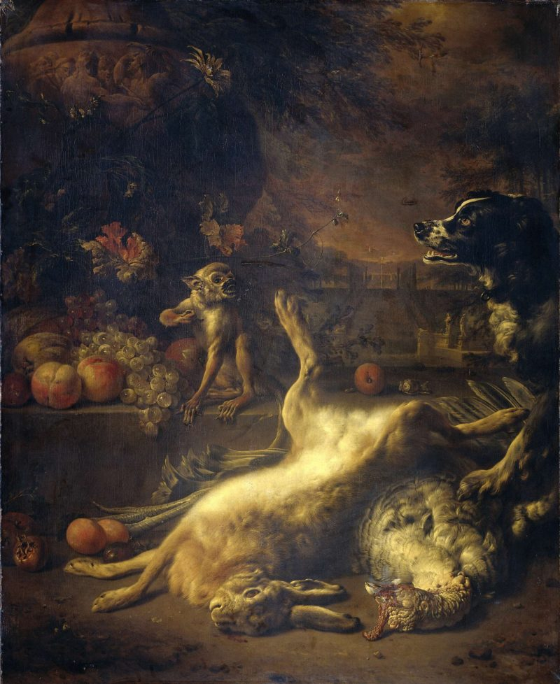 A monkey and a dog with dead game and fruit. 1704 | Jan Weenix | oil painting