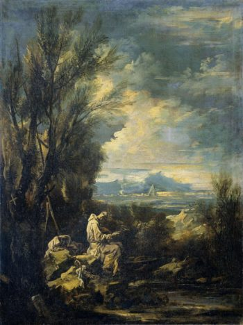 Landscape with Saint Bruno?. 1700 - 1749 | Alessandro Magnasco | oil painting