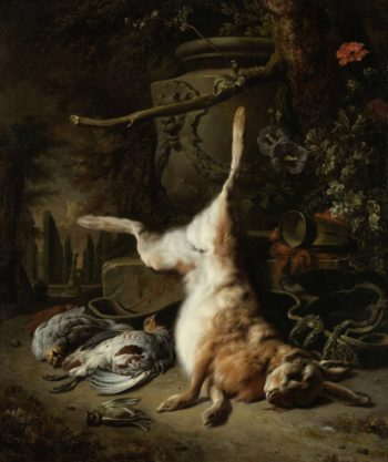 Still life with hare and hunt other. 1697 | Jan Weenix | oil painting