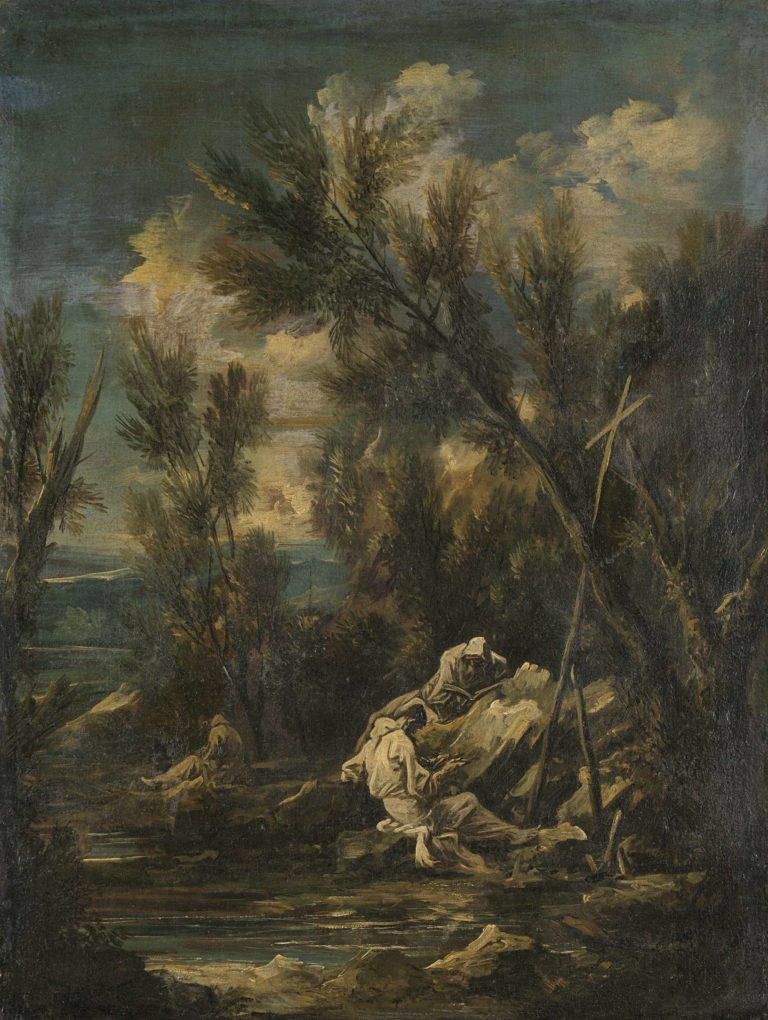 Carthusian monks in a landscape. 1700 - 1749 | Alessandro Magnasco | oil painting