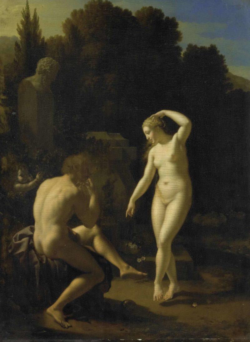 A nymph dancing on the flute of a shepherd. 1718 | Adriaen van der Werff | oil painting
