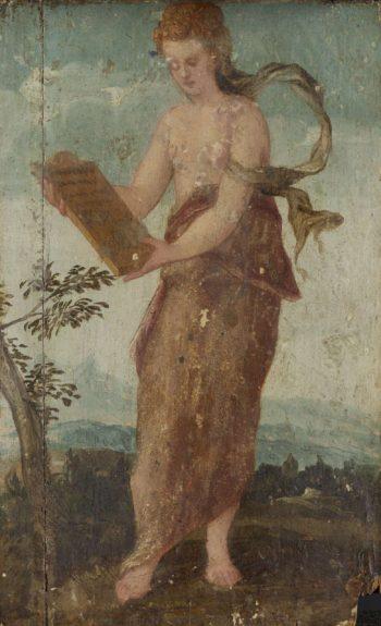 Woman with writting. 1540 - 1570 | Lambert Sustris | oil painting