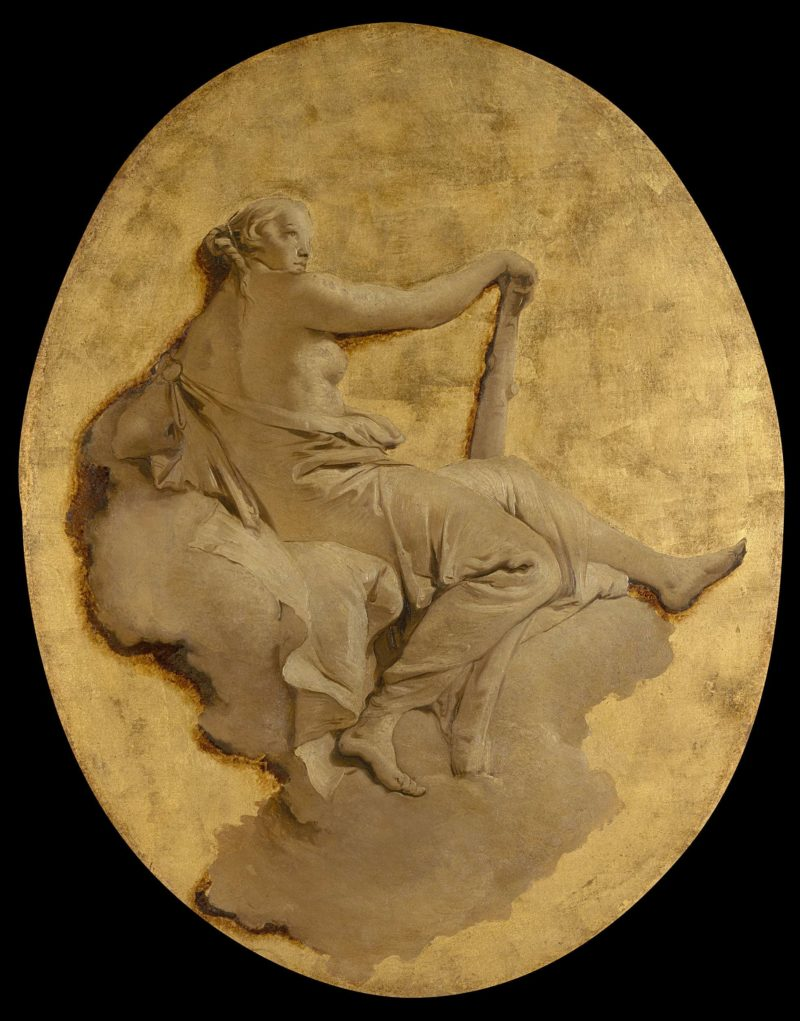 Allegorical Figure of a Woman with a Club (Fortitude?). ca. 1740 - 1750   Giovanni Battista Tiepolo   oil painting