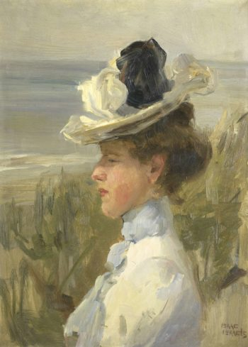 Young woman overlooking the sea;. ca. 1895 - ca. 1900 | Isaac Israels | oil painting
