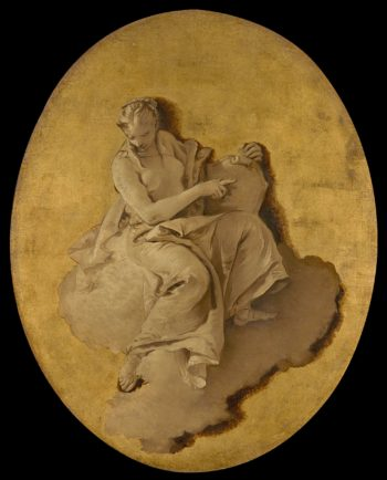 Allegorical Figure of a Woman with a Shield or a Mirror (Prudence?). ca. 1740 - 1750 | Giovanni Battista Tiepolo | oil painting