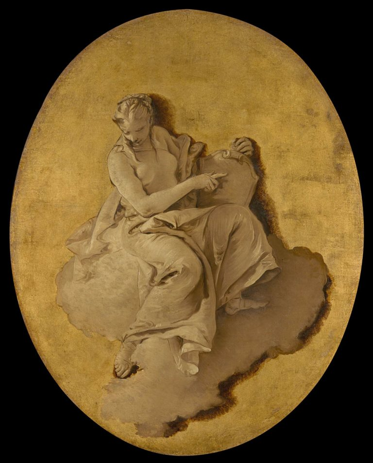 Allegorical Figure of a Woman with a Shield or a Mirror (Prudence?). ca. 1740 - 1750   Giovanni Battista Tiepolo   oil painting