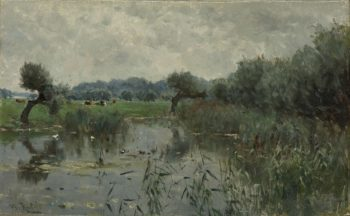In the river IJssel. 1870 - 1897 | Willem Roelofs (I) | oil painting