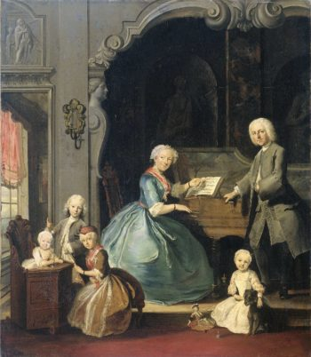 Family Group near a Harpsichord. 1739 | Cornelis Troost | oil painting