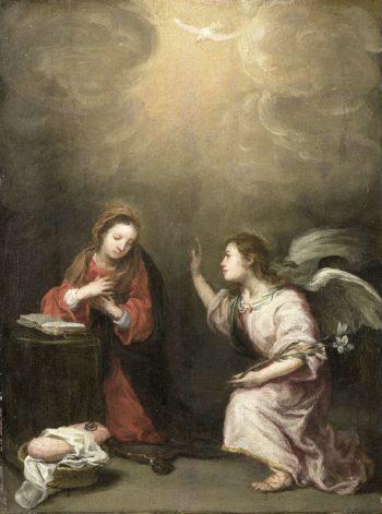 The Annunciation. 1700 - 1800 | Bartolom? Esteban Murillo | oil painting
