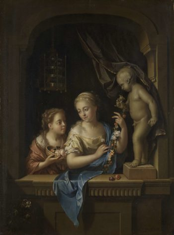 Two Girls with Flowers by a Statue of Cupid. 1713 | Pieter van der Werff | oil painting