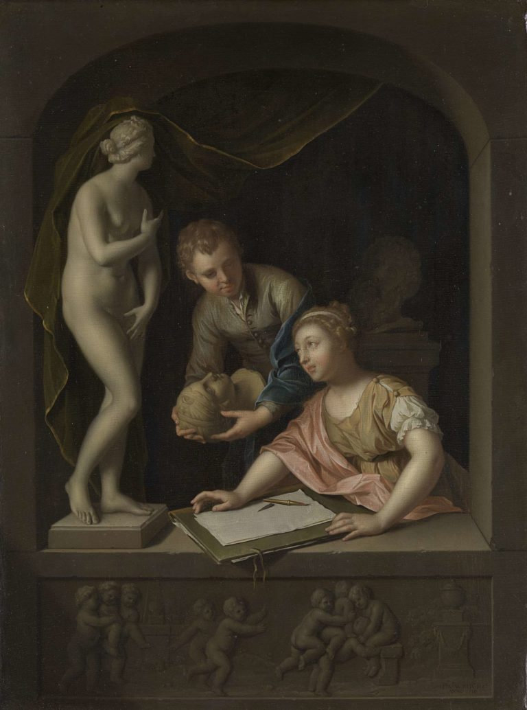 Drawing A Girl and a Boy near a Statue of Venus. 1715 | Pieter van der Werff | oil painting