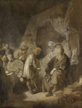 Joseph tells his dreams to his parents and his brothers. 1633 | Rembrandt Harmensz. van Rijn | oil painting