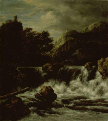 Mountain landscape with waterfall. 1650 - 1682 | Jacob Isaacksz. van Ruisdael | oil painting