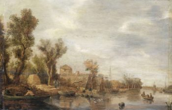 River View. after c. 1630   Jan van Goyen   oil painting