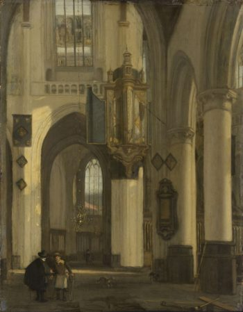 Interior of a Protestant Gothic church with motifs of the Old and the New Church in Amsterdam. 1677 | Emanuel de Witte | oil painting