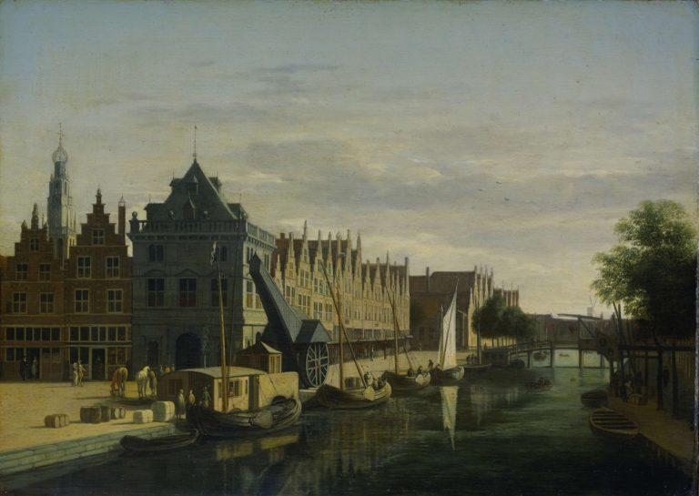 The Waag and the tap on the Spaarne in Haarlem. 1660 - 1698 | Gerrit Adriaensz. Berckheyde | oil painting