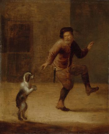 A man dancing with a dog. ca. 1640 - ca. 1660 | Fran?ois Verwilt | oil painting