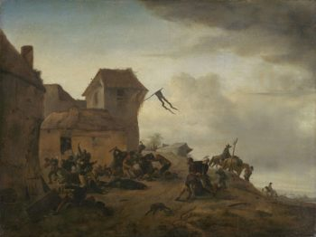 Fighting farmers in a village. 1650 - 1668 | Philips Wouwerman | oil painting