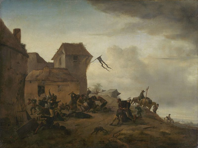 Fighting farmers in a village. 1650 - 1668   Philips Wouwerman   oil painting