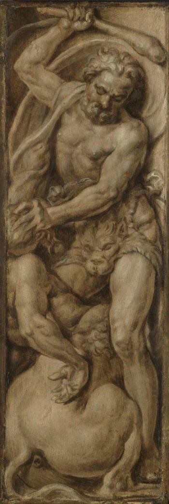 Hercules destroys the centaur Nessus. ca. 1550 - ca. 1560 | Maarten van Heemskerck | oil painting