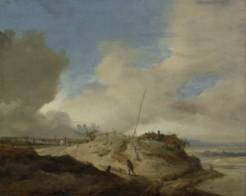 Landscape with semaphore. 1650 - 1668 | Philips Wouwerman | oil painting