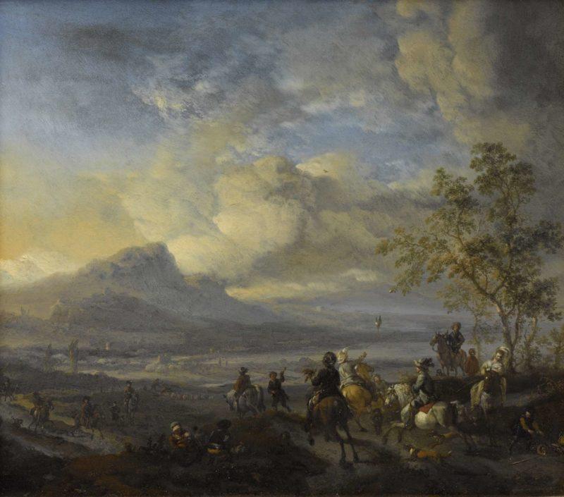 Heron Hunting. 1650 - 1668   Philips Wouwerman   oil painting