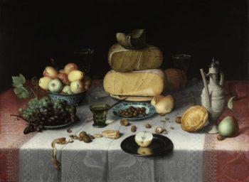 Still Life with Cheese. ca. 1615   Floris Claesz. van Dijck   oil painting