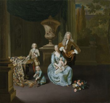 Diederik van Leyden Baron of Vlaardingen (1695-1764) with his wife and three sons. 1728 | Willem van Mieris | oil painting