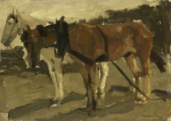 A brown and white horse in Scheveningen. ca. 1880 - ca. 1923 | George Hendrik Breitner | oil painting