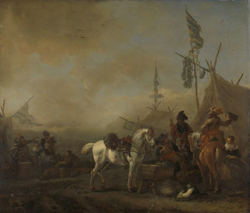 An army camp. 1650 - 1668 | Philips Wouwerman | oil painting