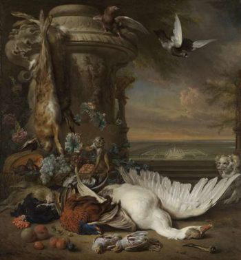 Still life with dead game and fruit beside a vase, with a monkey, a dog and two doves in the offing Rijksdorp in Wassenaar, a country house of Jacob esquire Emmery Baron Wassenaar. 1714 Jan Weenix