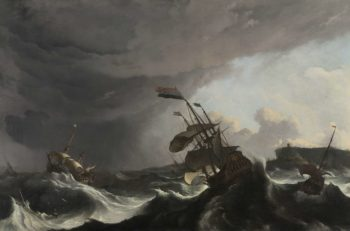 Warships in a Heavy Storm. ca. 1695 | Ludolf Bakhuysen | oil painting