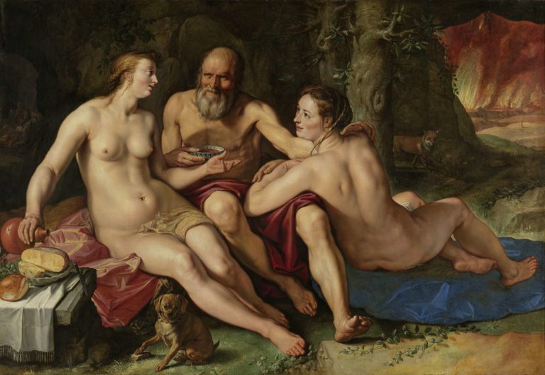 Lot and his Daughters. 1616 | Hendrick Goltzius | oil painting