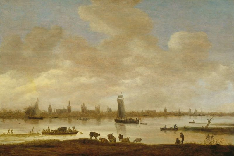 View of an imaginary city on a river with the tower of St Pol in Vianen. 1649 | Jan van Goyen | oil painting