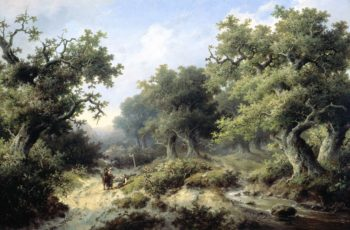 Wooded Landscape with Travellers. 1849 | Jacob Cremer | oil painting