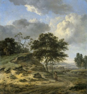 Landscape with two hunters. 1655 - 1684 | Jan Wijnants | oil painting